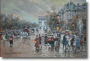 Original Painting, Arc de Triomphe et Rond Point des Champs Elysees en 1900 by Antoine Blanchard