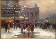 Cafe la Paix Neige Original Painting by Edouard Cortes