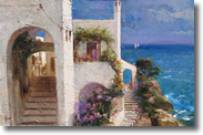 Original Painting, Stairway by the Sea by Pino